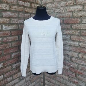 Loft White Cable Knit Sweater Size XS